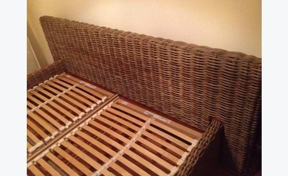 Wicker Queen Bed Frame With Battens