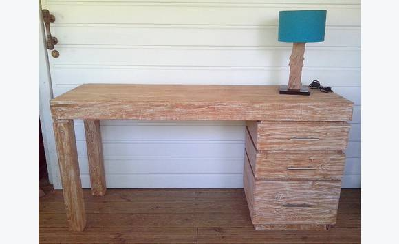 Bureau en teck cérusé blanc meubles et décoration guadeloupe u2022 cyphoma