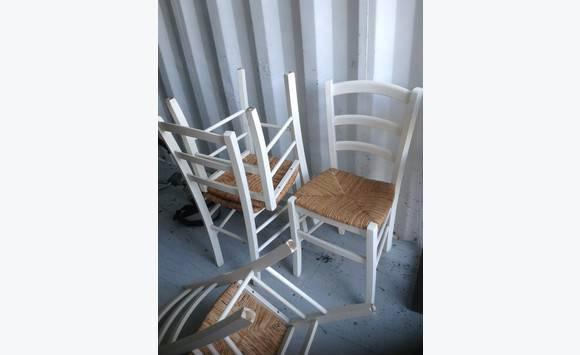 Table bois et 6 chaises pailles blanches annonce - Table et chaises blanches ...