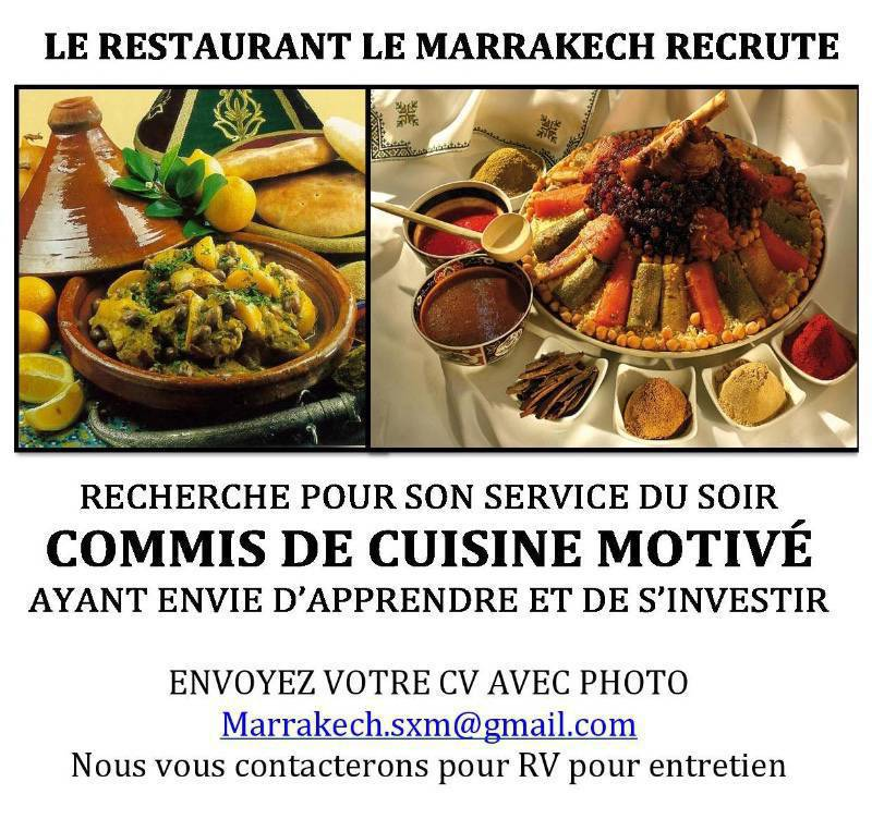 Cherche commis de cuisine annonce offre emploi marigot for Offre d emploi commis de cuisine paris