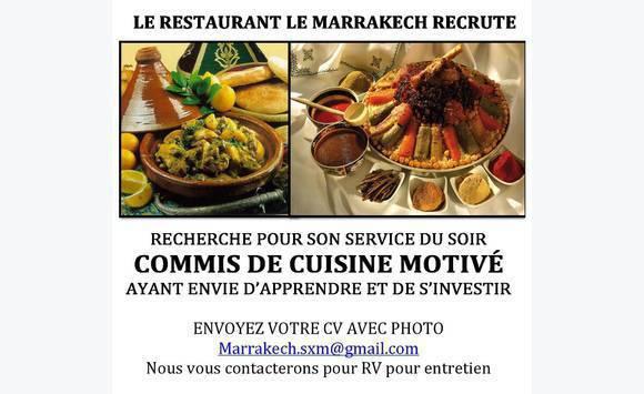Cherche commis de cuisine annonce offre emploi marigot for Salaire net commis de cuisine