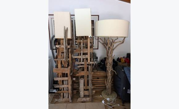 Lampes En Bois Flotte Bleu Nature Meubles Et Decoration Saint