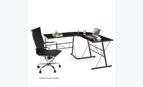 deskblack tempered glass l shaped desk brand new - Glass L Shaped Desk