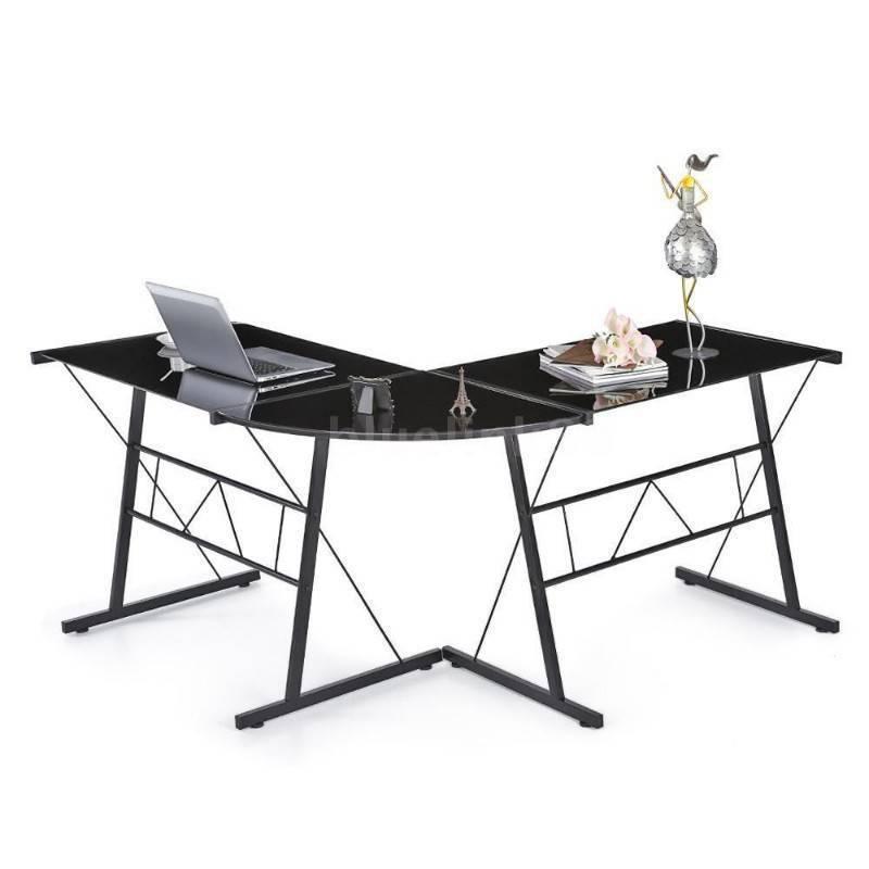Desk Black Tempered Glass L Shaped Brand New Sint Maarten