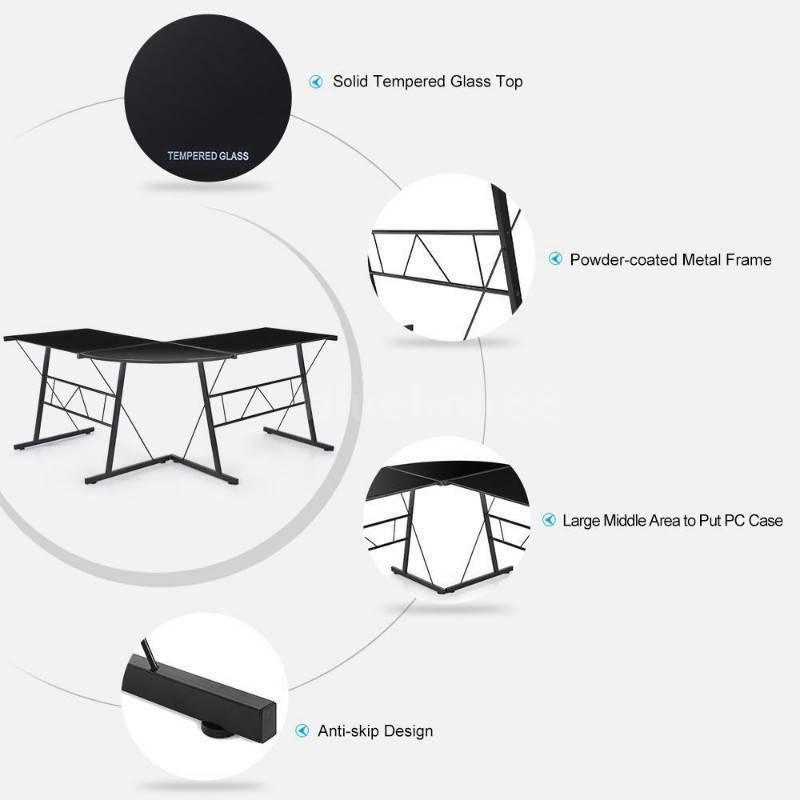 deskblack tempered glass l shaped desk brand new sint maarten - Glass L Shaped Desk
