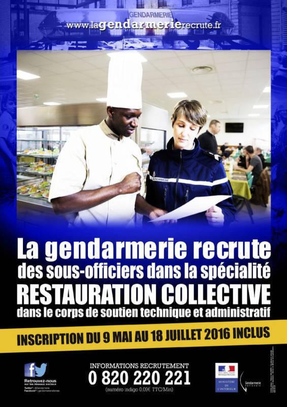 Restauration collective gendarmerie annonce offre for Emploi responsable de restauration collective