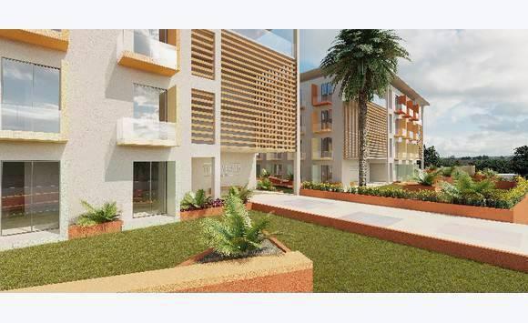 Modern studio apartments under construction