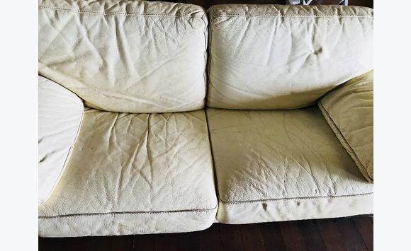 canape roche bobois cuir blanc