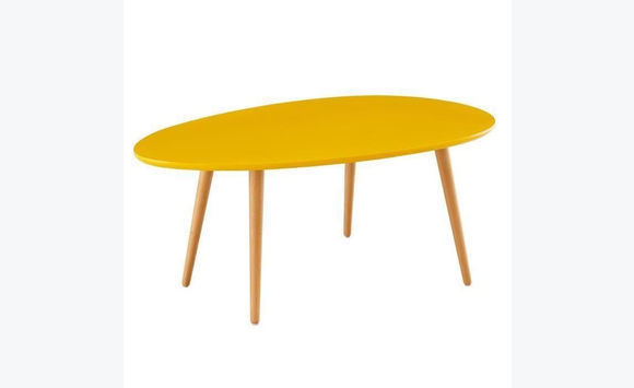 Table basse scandinave laqu e jaune moutarde meubles et for Table basse deco scandinave