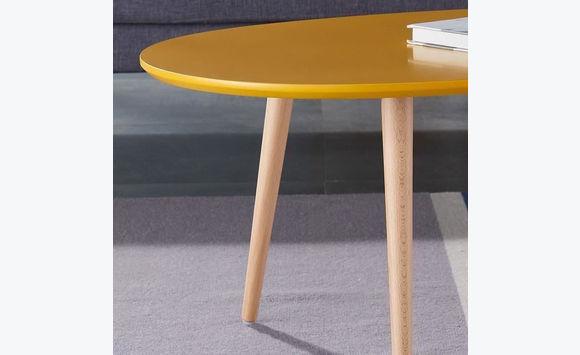 Table basse scandinave laqu e jaune moutarde meubles et for Table basse scandinave moutarde