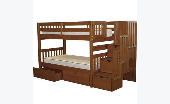 Twin bunk set with drawers.